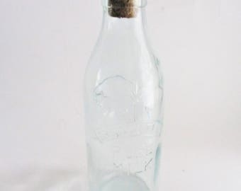 Vintage Absolutely Pure Milk Bottle Green Glass Bottle with Cork Made in Italy