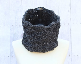 Dark Grey Infinity Scarf, Grey Loop Scarf, Grey Cowl, Grey Neckwarmer, Grey Crochet Scarf, Grey Chunky Scarf, Grey Wool Scarf, THE ISABEL