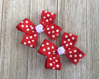 Hair Bows,Red and White Polka Dots,Christmas Bows,Pigtail Hair Bows,Alligator Clips,3 Inch Hair Bows,Non Slip Hair Bows