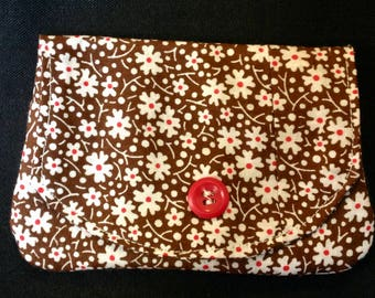 Mini Wallet - brown and white flower fabric