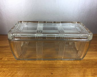 Clear Criss Cross Refrigerator Dish with Lid
