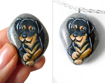 Rottweiler Art, Pet Portrait, Dog Necklace, Pet Pendant, Memorial Jewelry, Original Painting, Hand Painted Rock, Beach Stone, Gift For Her