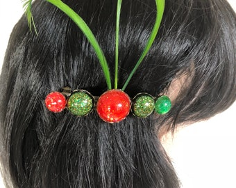 French  barette hair pin bobble in orange and green with three green feathers