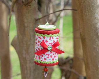 Very Strawberry Beaded Wooden Spool Ornament