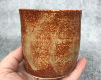 Tumbler - small cup - handheld cup - pinch cup - brown and purple - pottery - ceramic tumbler
