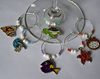 Tropical Fish Summer Wine Charms - Set of 6