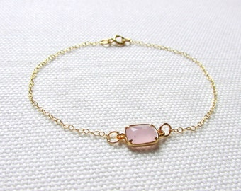 Blush Pink Bracelet Gold Plate or Gold Filled Chain Stackable Bracelet Dainty Delicate Bridesmaid Gift