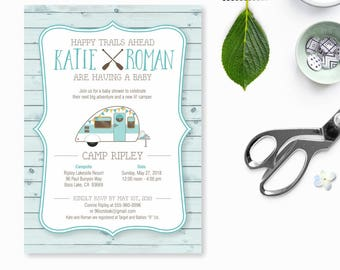 Camping Baby Shower Invitation, baby shower camping, adventure shower, the adventure begins, rustic baby shower, outdoor baby shower, couple