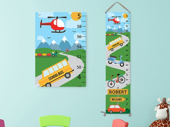 Transportation Growth Chart - Personalized Growth Chart, Cars Kids Art, Height Chart, Custom Growth Chart, Boy Gift, Toddler Gift GC4676S