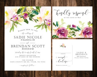 Blush + Fuchsia Floral Wedding Invitations; Blush, Ivory, Fuchsia; Printable OR set of 25