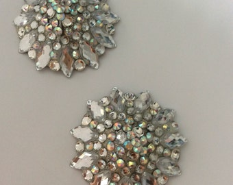 Crystal pasties, pointy stones,silver base, crystal AB accents
