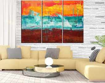 Large abstract art Canvas Print for office decor Extra large wall art  Large Abstract art modern framed ready to hang 3 panels q137
