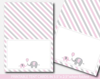 Pink elephant baby shower food labels, Food tent cards, Place cards, Food tent labels, Place settings, Buffet labels, BE4-10