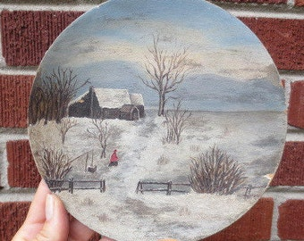 Antique Victorian FOLK ART Small Painting Snowy Landscape Woman Red Cloak c.1800s On Wood