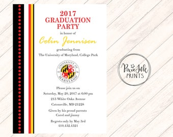Graduation Party Invitation, College Logo Graduation Invitation,  Class of 2017 Graduation Invitation, Graduation Open House Party Printable