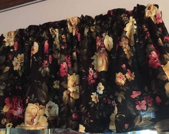 New  Floral on Black Cotton  Window Curtain Valance