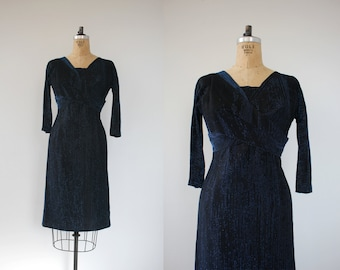 vintage 1950s dress / 50s wiggle dress / 50s blue lurex dress / 50s bombshell dress / 50s blue black dress / 50s party dress / medium med m