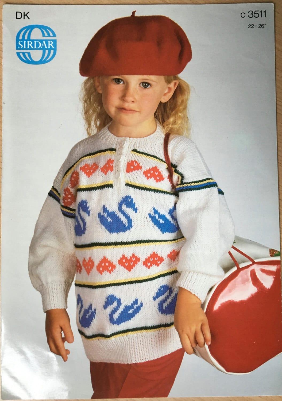 Childrens Knitting Pattern, Sirdar Knitting Pattern, Swan & Heart ...