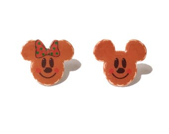 "SALE Handmade ""Mr. and Mrs. Gingerbread Mouse"" Christmas Winter Inspired Minnie & Mickey Mouse Earrings"