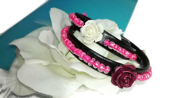 Wrapped recycled faux leather bracelet with white beads and roses