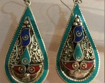 silver earring vith gem stone,Silver  filigree earring, - good luck - Sterling Silver Dangle Earrings - Dangling Earrings