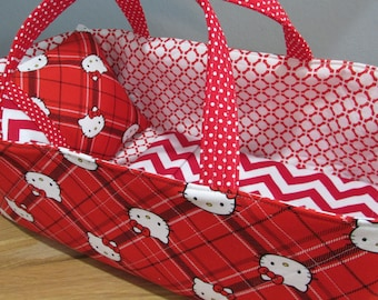 Doll Carrier,Will Fit Bitty Baby and Stella Dolls, Hello Kitty Fabric, Red and White Lining, Fits Up to a 16 inch Doll, Doll Basket