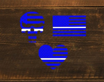 Blue with white thin Line Medic EMT Paramedic Flag Skull Heart Decal - Cling - Sticker - Window - Cup - Tablet - Computer - Laptop - Tumbler