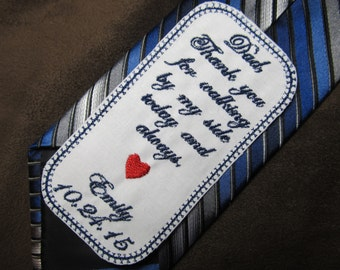 Father of the Bride - Personalized Embroidered Wedding Tie Patch - Shown with Navy Blue Writing