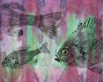 Perch and Bluegills Original GYOTAKU Fish Rubbing Lake House Cottage Art on natural Batik cloth Fisherman Gift