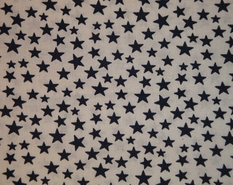 Scattered Star Fabric | White With Navy Star Fabric | Quilt Fabric | Home Decor Fabric | Apparel Fabric | Americana Fabric