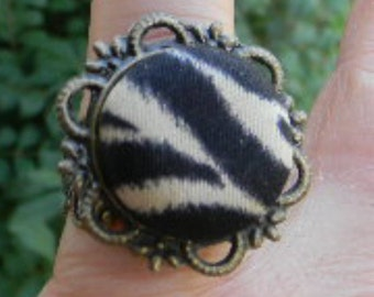 Zebra or  Leopard  Fabric Adjustable Cabochon Ring