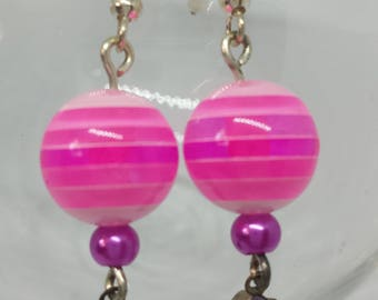 Funky Pinky! Drop Earrings with snazzy pink stripey beads.