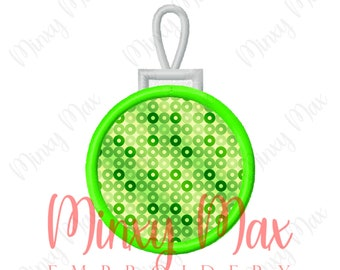 Christmas Ornament Applique Machine Embroidery Design 4x4 5x7 6x10 INSTANT DOWNLOAD