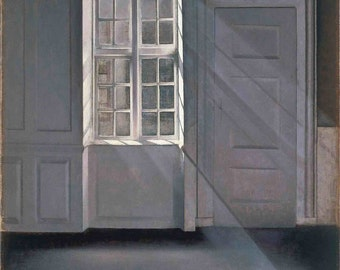 Vilhelm Hammershoi: Dust Motes Dancing in the Sunbeams. Fine Art Print/Poster (00493)