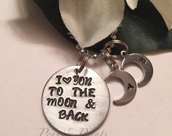 Hand stamped personalized on 1 inch aluminum disk I Love You To The Moon And Back, kids necklace, mothers day, birthday