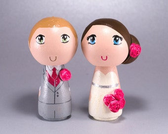 Wedding Wooden Kokeshi Peg Doll Cake Topper with 3D Accessories - Custom made & Personalized
