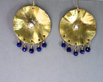 Large Brass Disc Earrings, Wire Wrapped Earrings, Lapis Earrings, Hammered Brass Earrings, Brass and Silver Jewelry, Artisan Made Jewelry