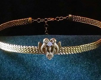 Circlet of Earth Goddess holding Moonstone on Braided Brass Band Circlet Headpiece Crown