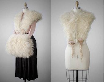 1920s Mongolian lamb fur stole and muff set
