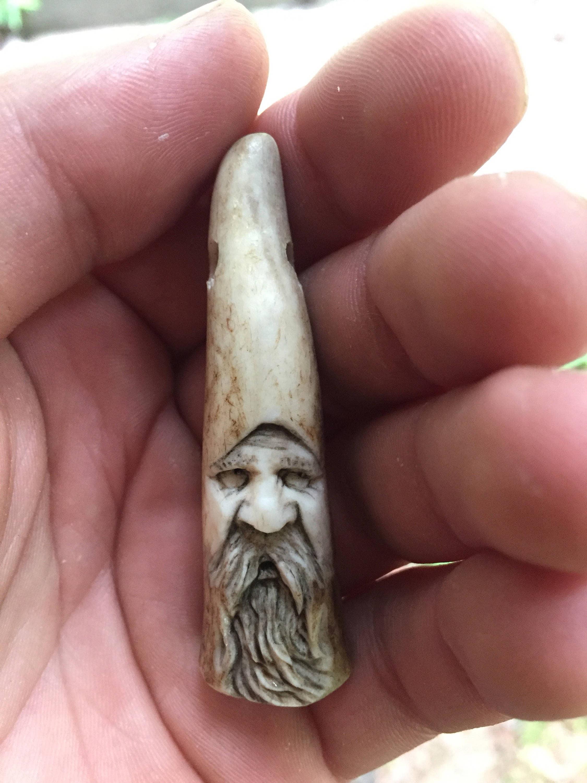 Pendant, Bone Necklace, Antler Jewelry, Spirit Carving, Old Man ...