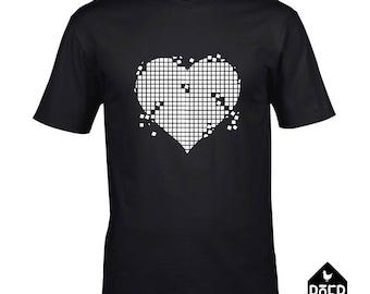 Heart grit, T-shirt, white or black, size S, M, L, XL