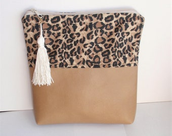 """Fold Over Bag ,Purse or Cosmetic /Makeup Bag. 10"""" X 10 """" X 2"""". Lined, Tassel.Animal Designer Print,Faux Leather, Zippered Bag. Handmade Gift"""
