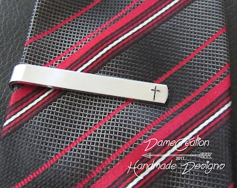 Personalized Tie Clip for Groom Gift, Officiant Thank You Gift, Father of the Bride Gift, Cross Wedding Gift, Cross Tie Clip