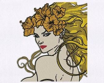 Bombshell Warrior Woman Machine Embroidery Design
