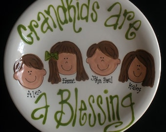 Grandparents Gift - Handpainted Plate for Grandparents - Grandkids are a blessing - great gift
