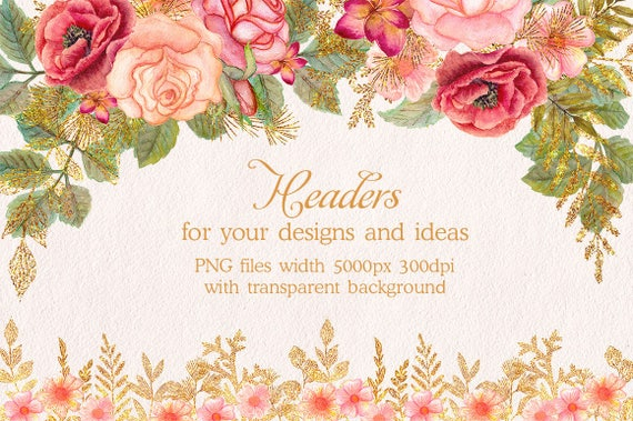 Watercolor Glitter Floral Headers Flower Clipart Floral Clip