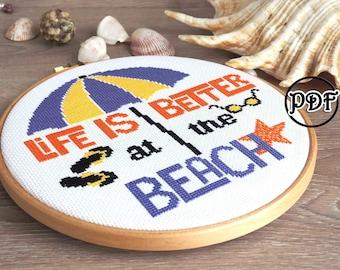 Summer beach cross stitch pattern pdf - Nautical, Ocean, Sea, Funny hoop art - Fiber art - summer gift