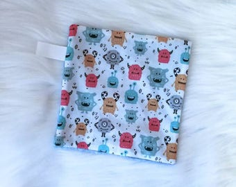 Monster Taggie Lovey Blanket. Security Blanket. Baby Boy. Baby Girl. READY TO SHIP