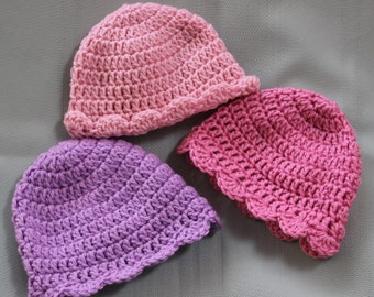 Baby or Toddler Girl Crochet Hat with Scalloped Edge