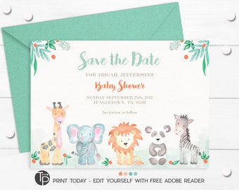 JUNGLE ANIMAL Save The Date, Instant Download, Save The Date Baby Shower,  Baby